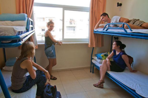 Um dos quartos do Abraham Hostel, em Jerusalém