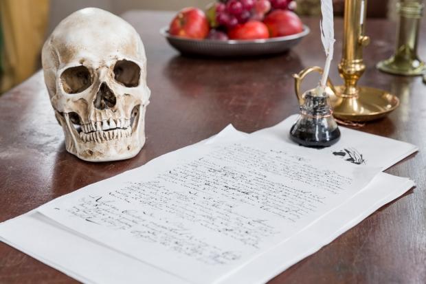 Shakespeares skrivebord i Kongetårnet foto Lior Zilberstein, Kronborg Slot